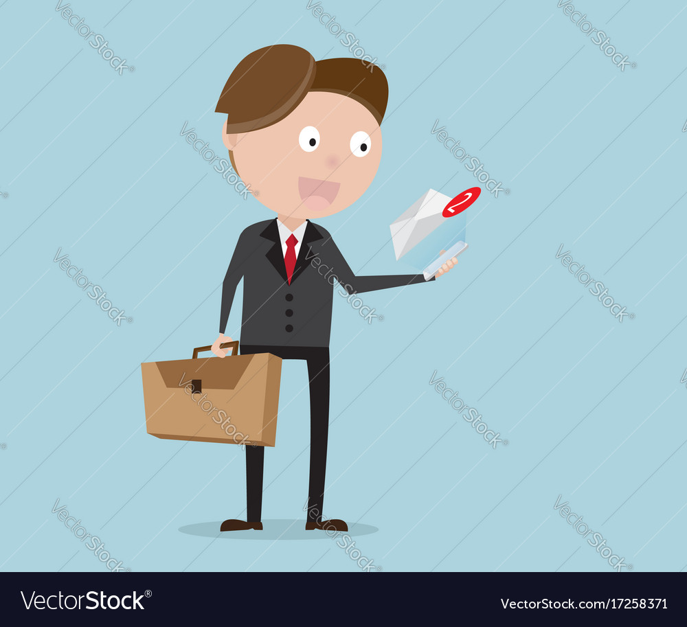Businessman standing with message alert vector image