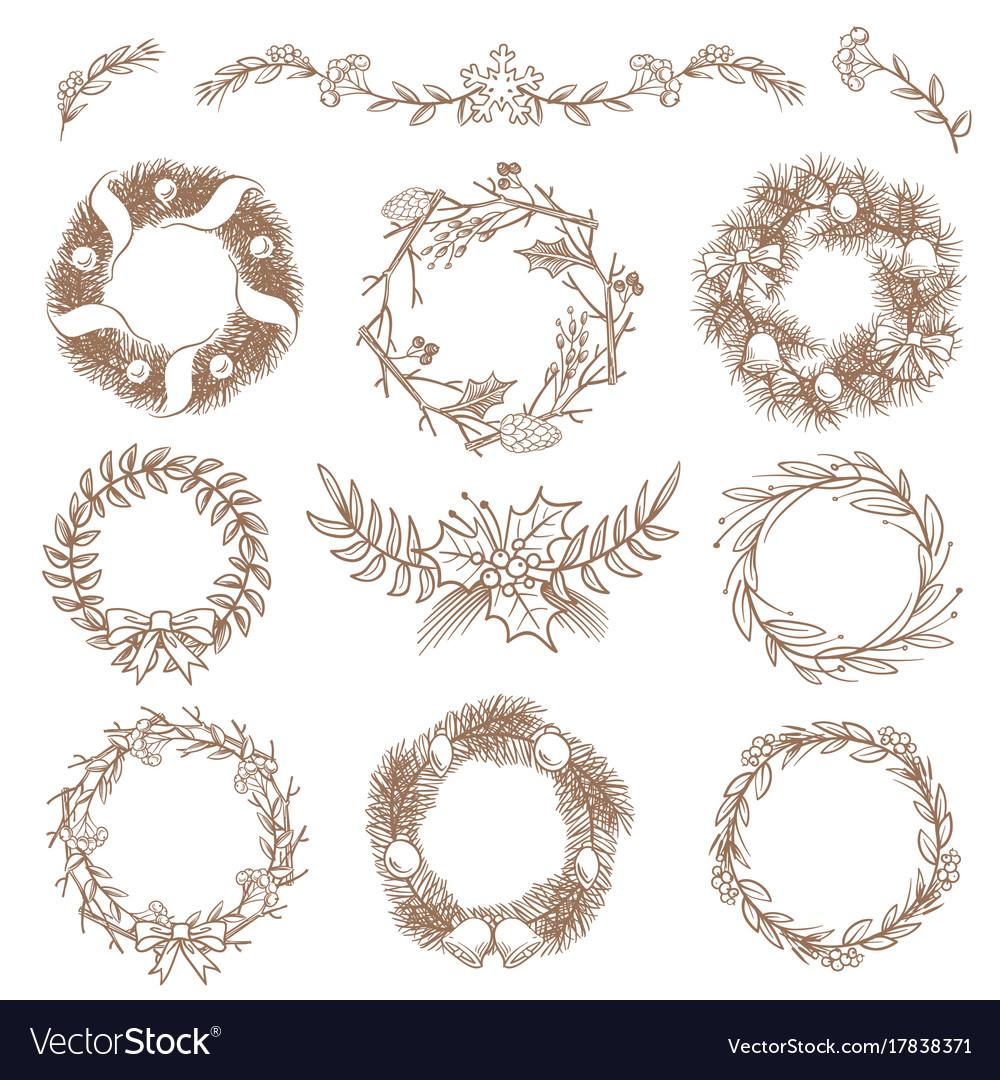 Christmas hand drawn wreaths border frames with
