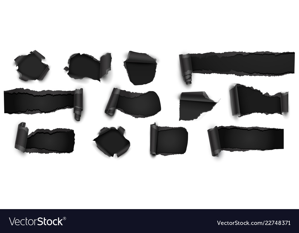 Collection torn black paper isolated on white