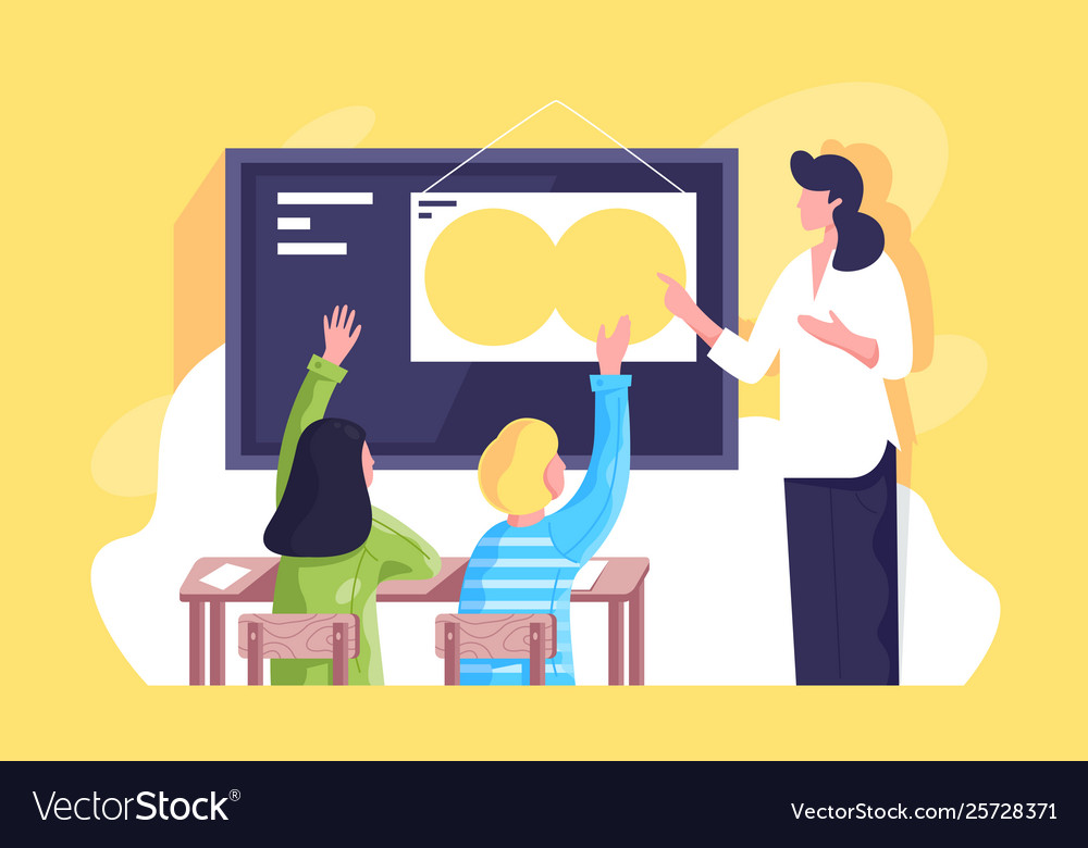 Flat classroom with young woman teacher and