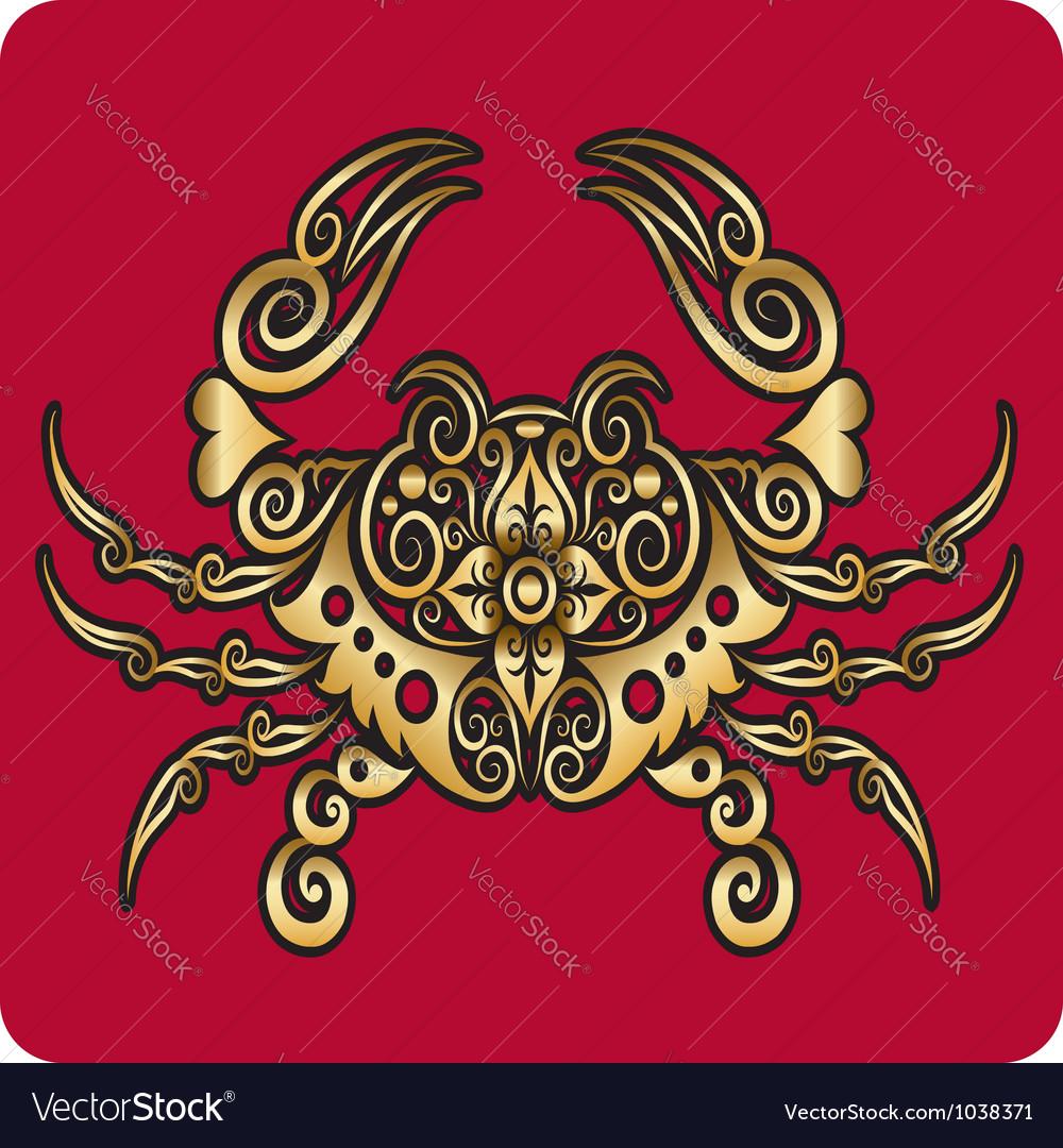 Golden crab ornament vector image