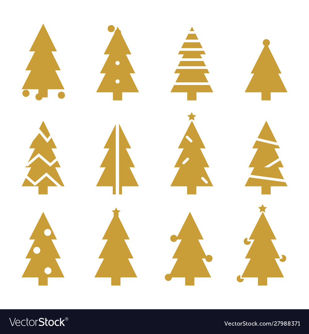 Golden silhouette christmas trees stylized simple