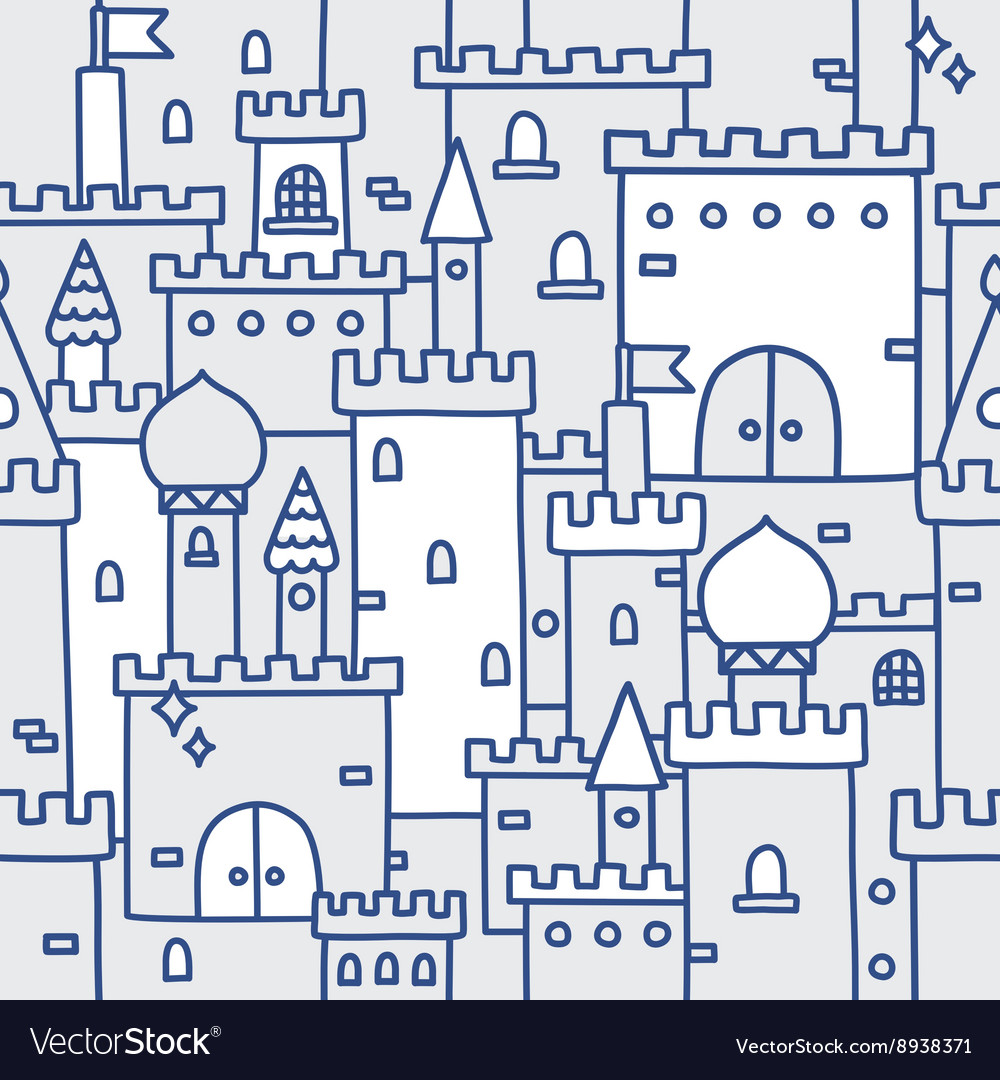 Hand drawn castle doodle tower pattern