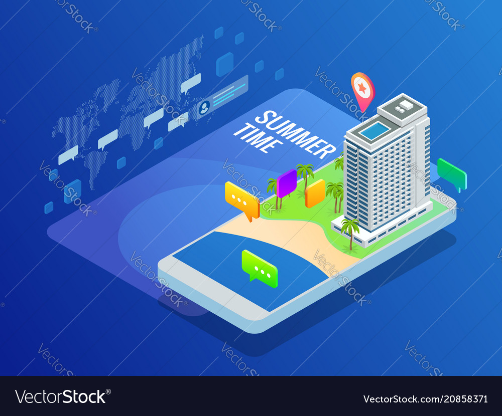 Isometric online booking hotel reservation travel