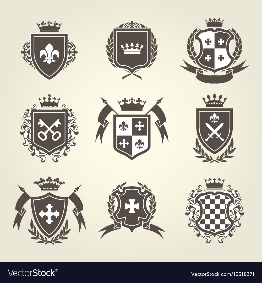Knight shields and royal coat arms set