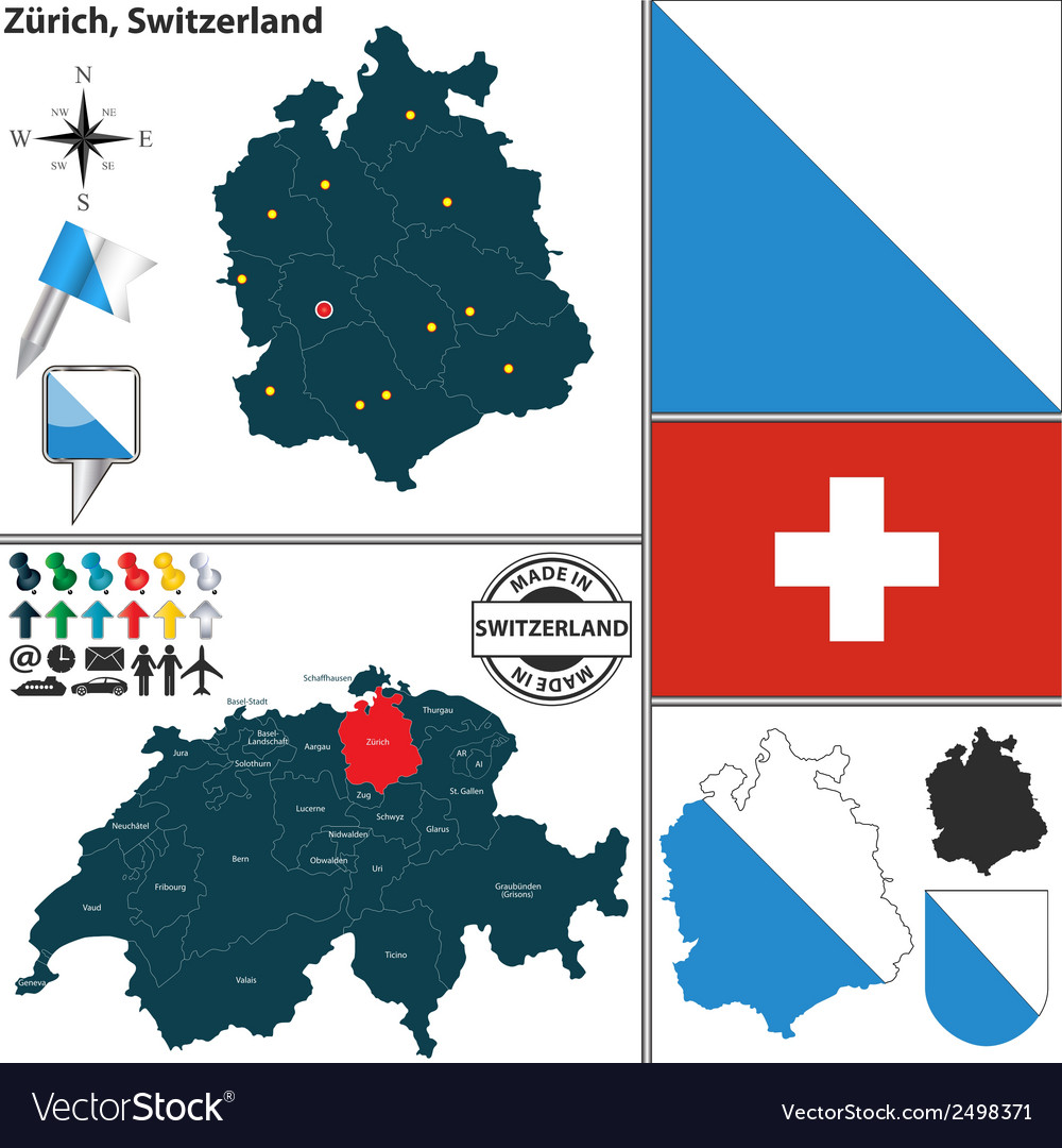 Map of Zurich Royalty Free Vector Image - VectorStock Zurich Map on