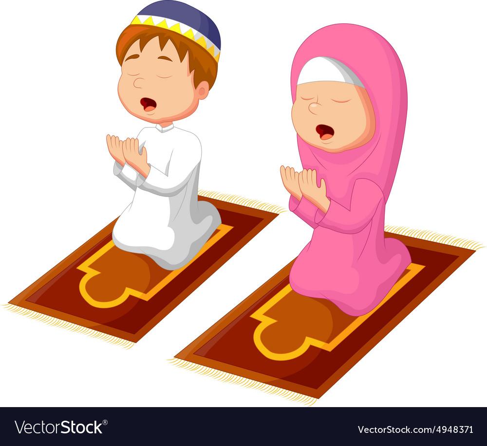 Muslim kid praying vector image