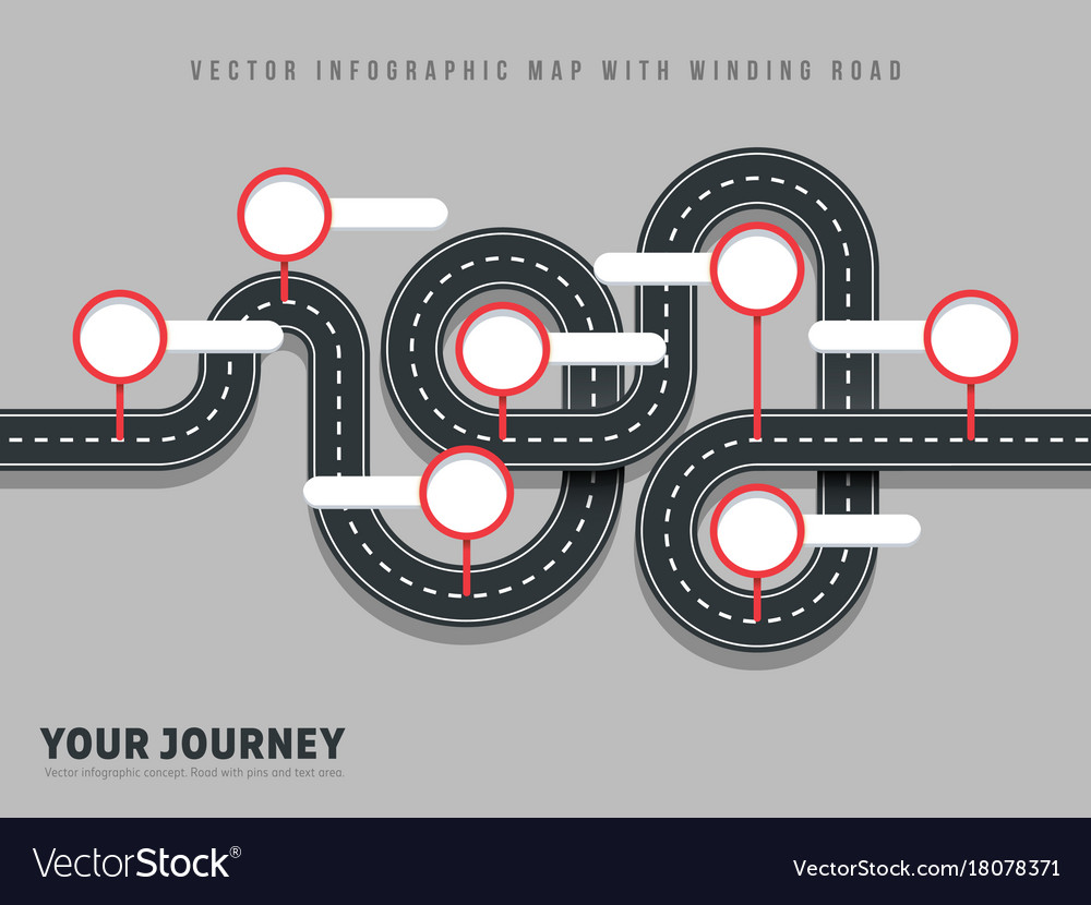Navigation winding road way map infographic