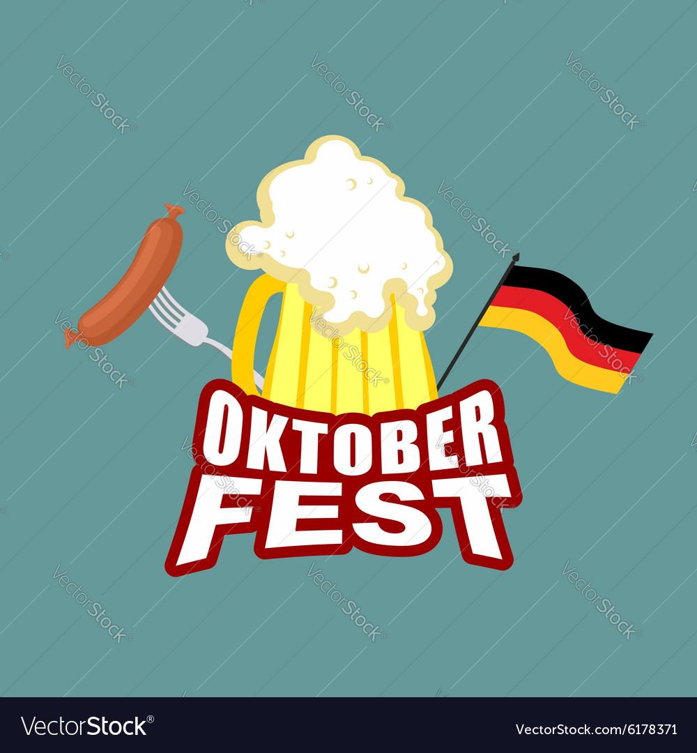 Oktoberfest beer and sausages German flag Beer
