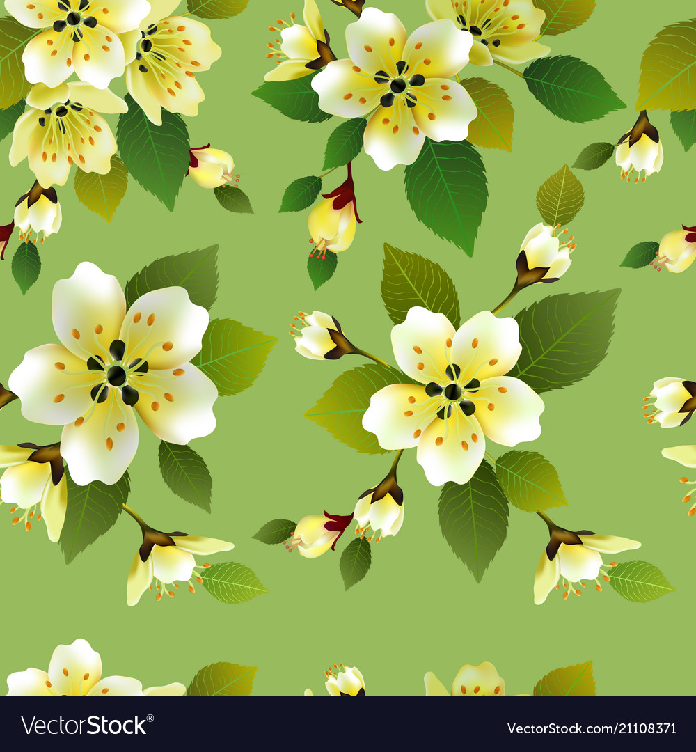 Seamless spring background with white and p