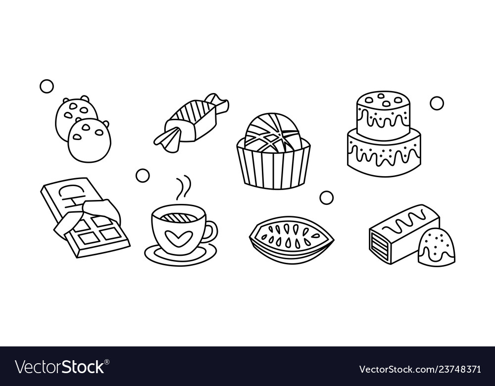 Set hand drawn sweet food an and drink