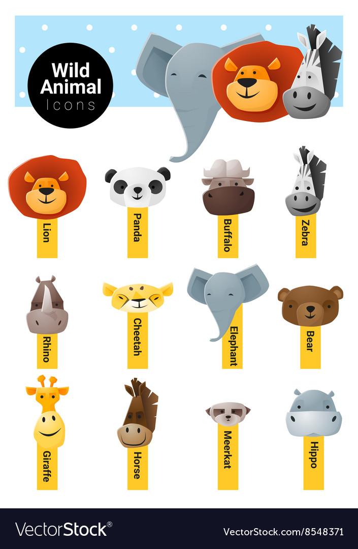 Set of cute animal icons wildlife vector image