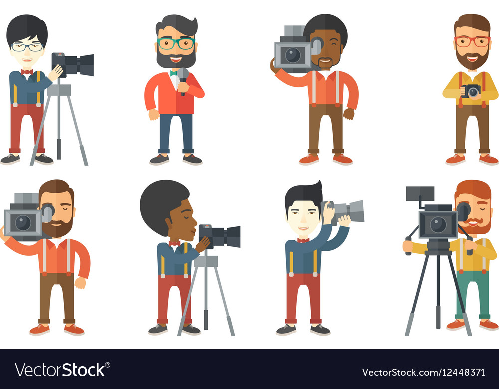 Set of media people characters