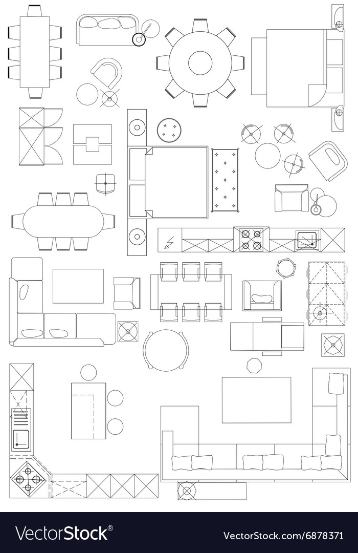 Different Architectural Styles Exterior House Designs: Standard Furniture Symbols Used In Architecture Vector Image