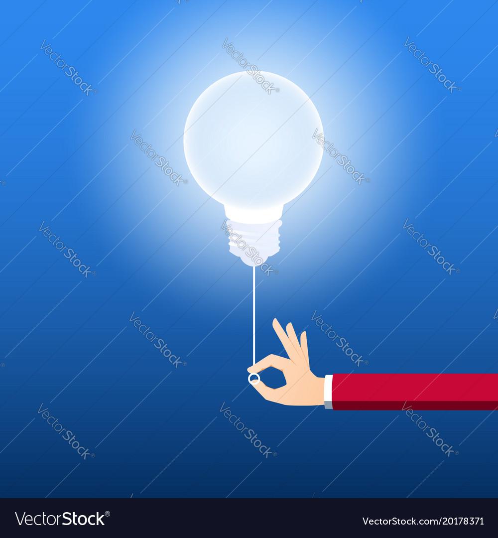 Turn on creative light bulb concept