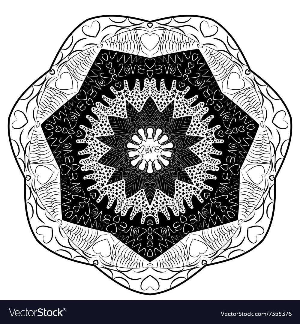 Black and white mandala inscription love vector image