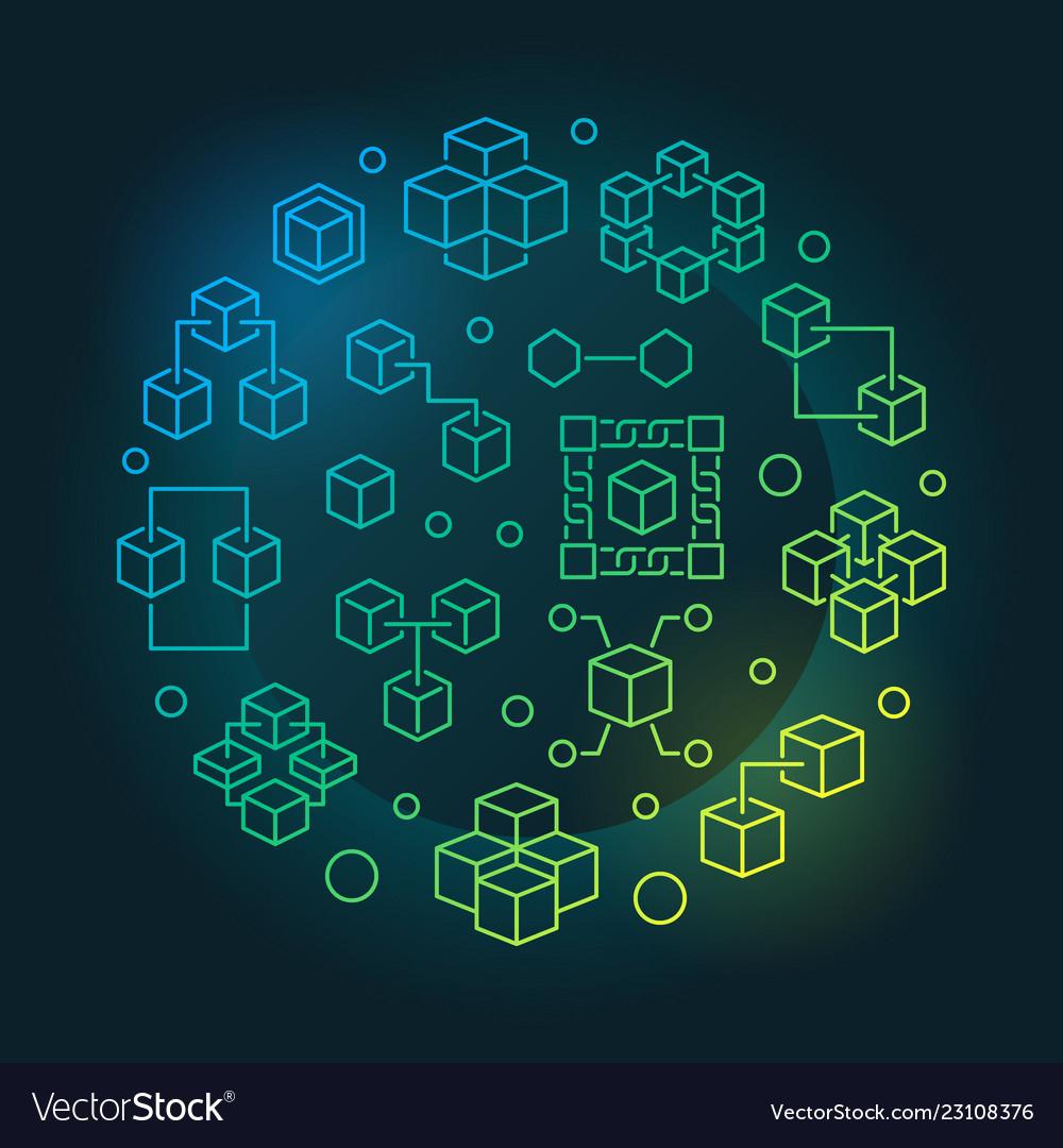 Blockchain technology colored round