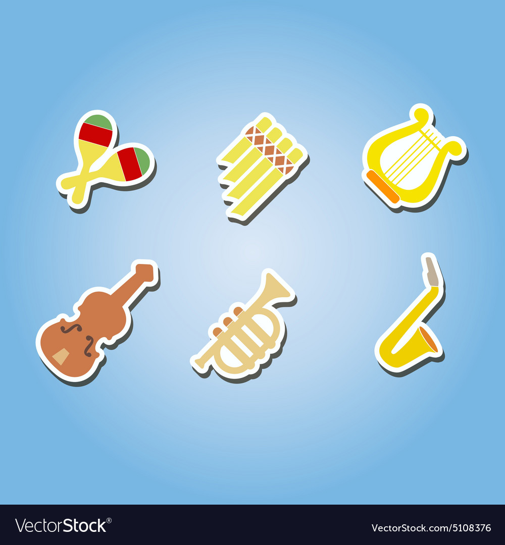 Color icons with musical instruments