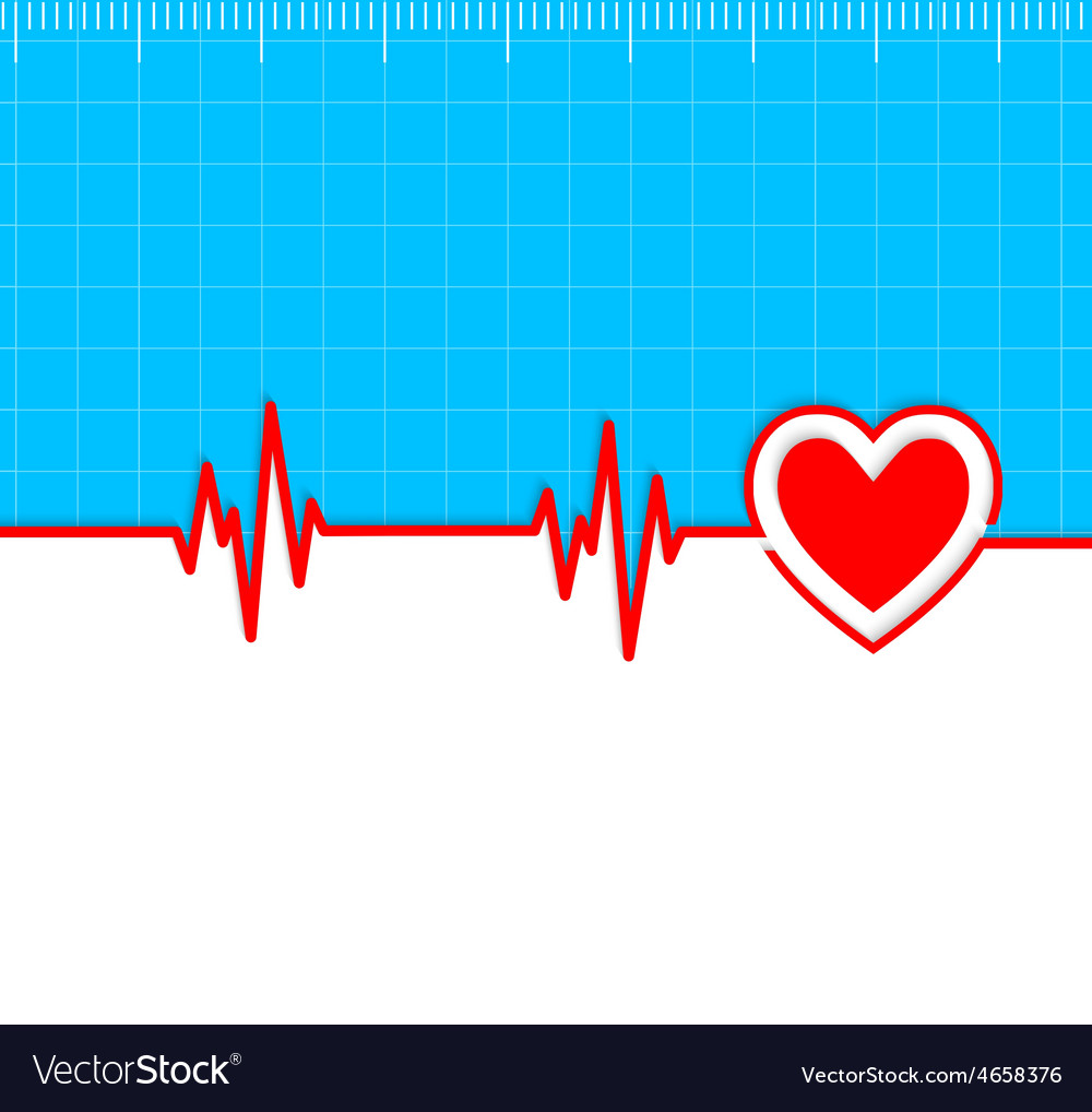 Electrocardiogram with heart silhouette