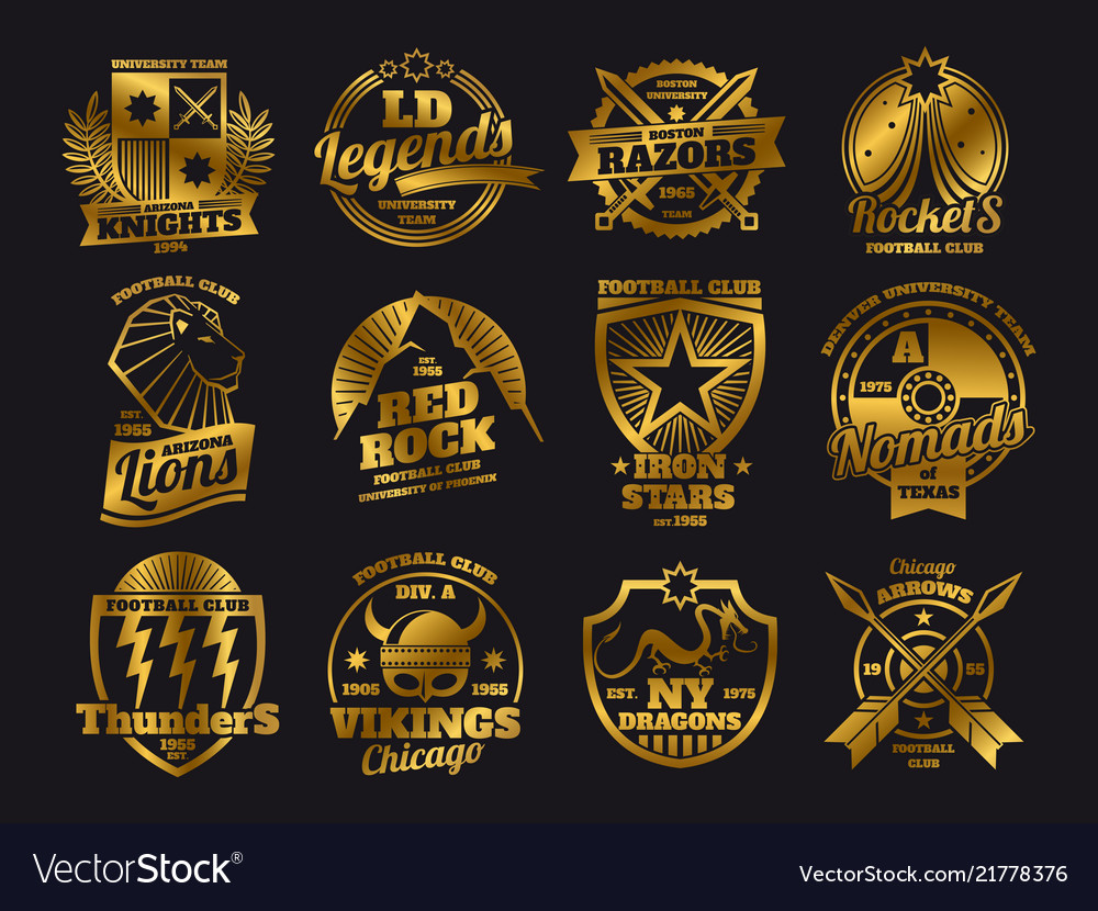 Gold school emblems college athletic teams sports