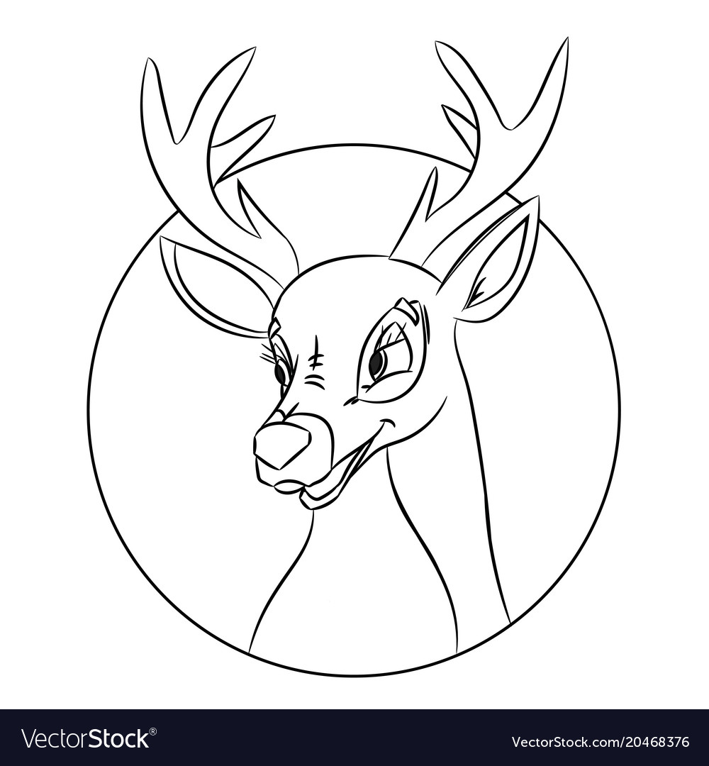 deer head coloring pages Hand drawn deer head coloring page picture made Vector Image deer head coloring pages