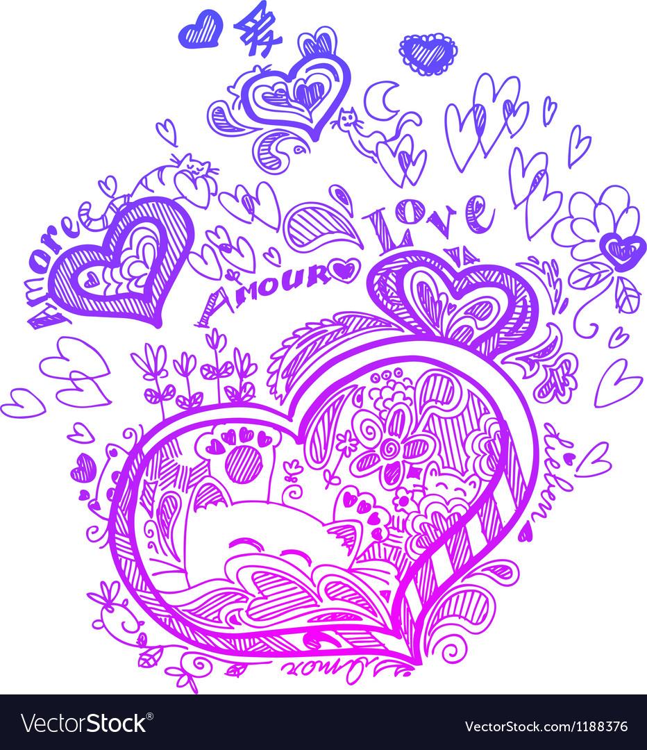 Heart valentine doodles
