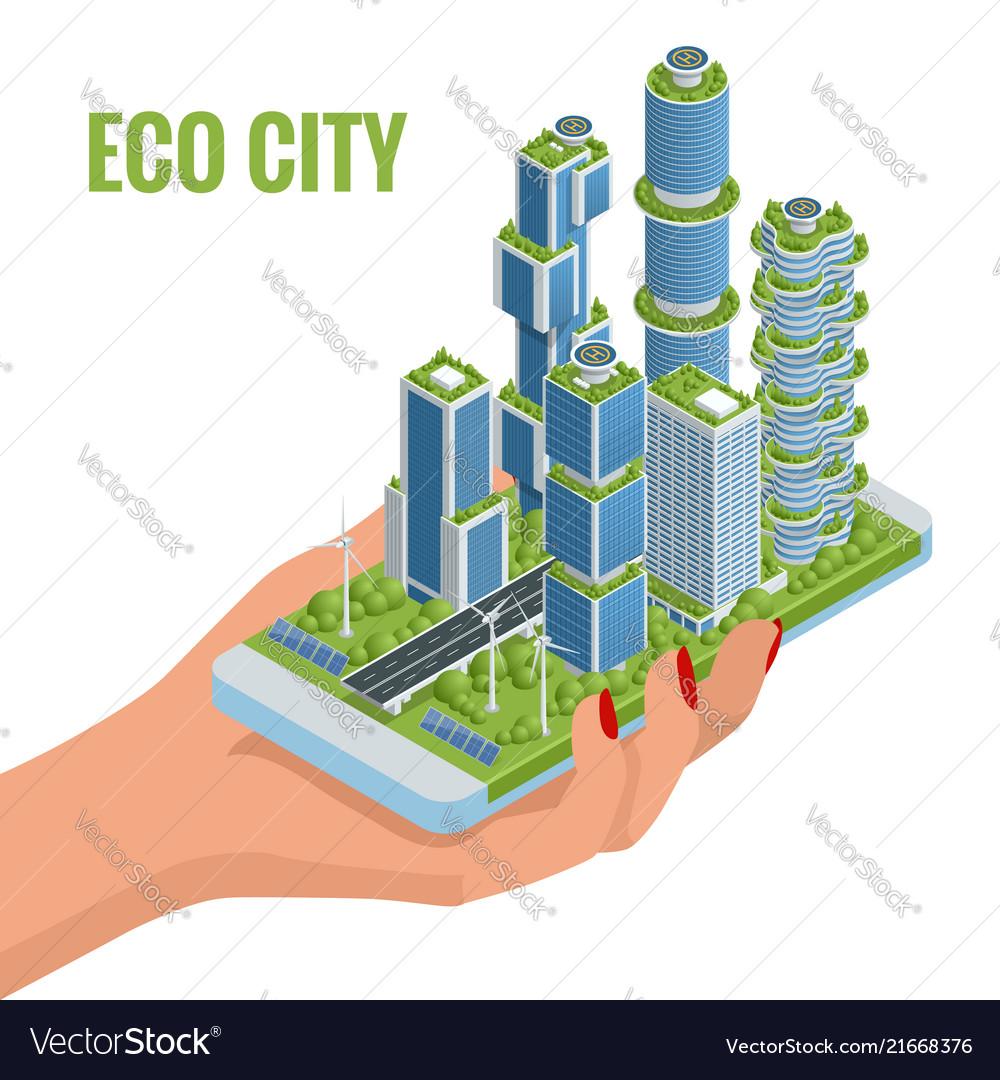 Isometric flat eco-architecture green skyscraper