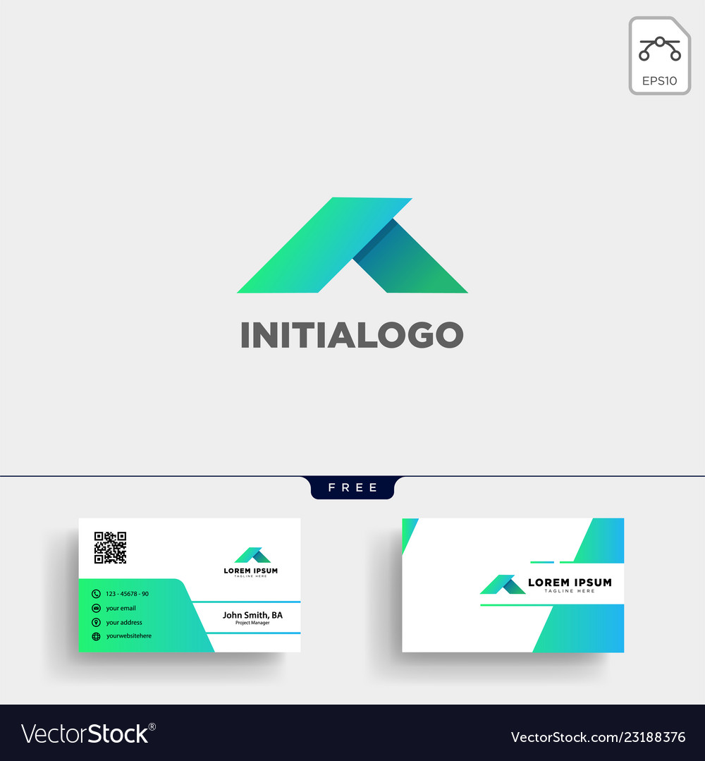 Minimal a initial logo template and business card
