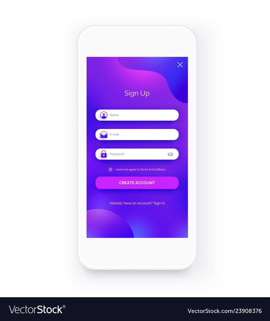 Mobile ui kit sign up form registration screen