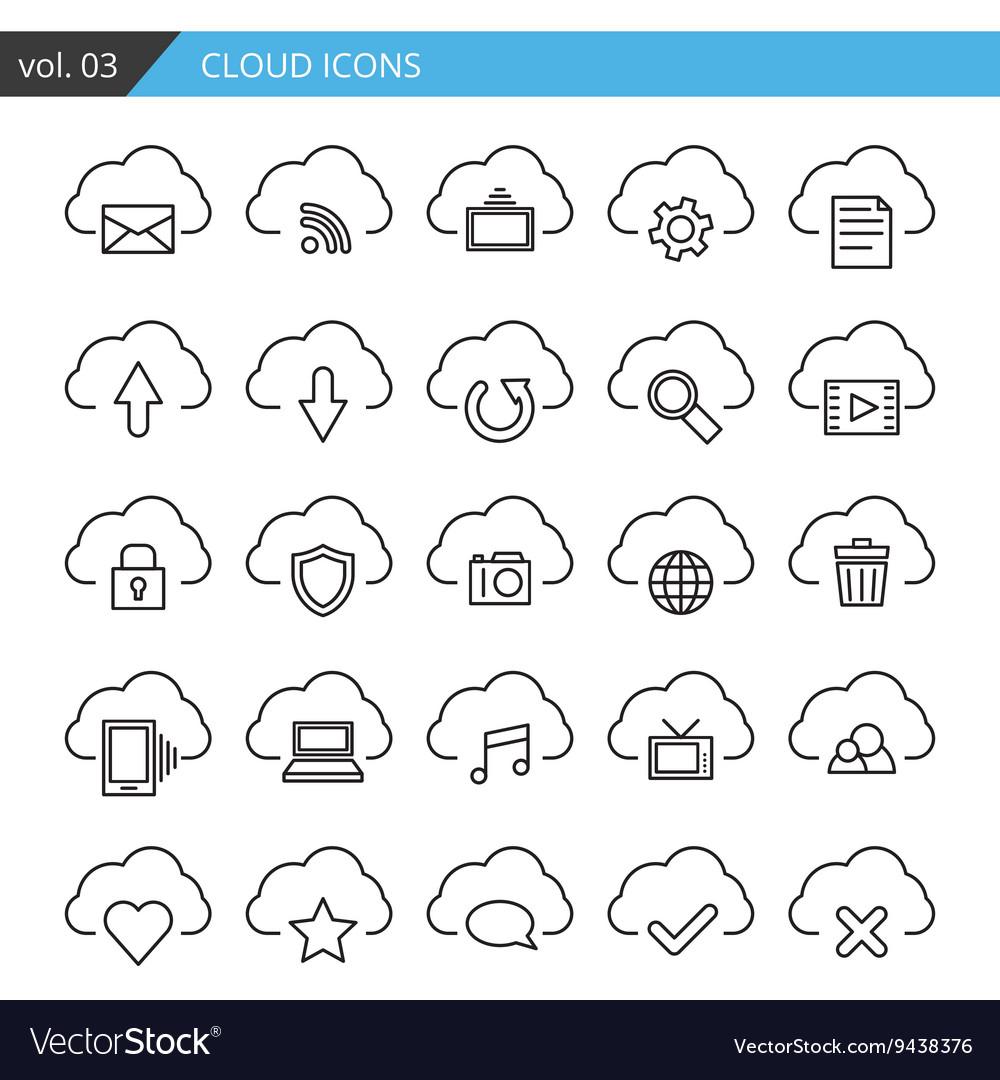 Modern line cloud icons set Premium quality