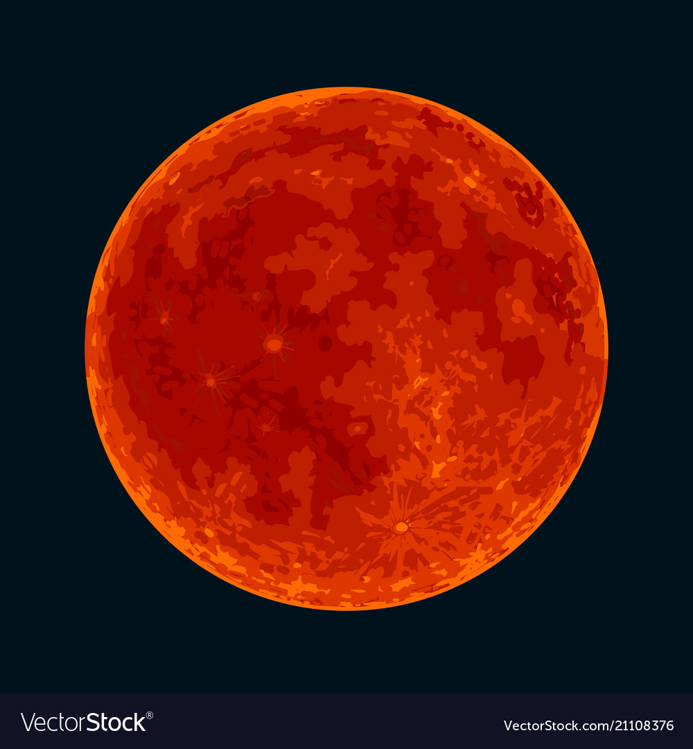 Red blood full moon on black background