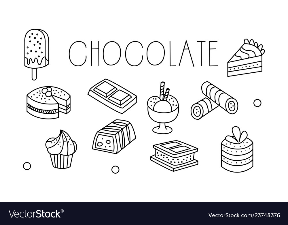 Set of chocolate desserts in sketch style