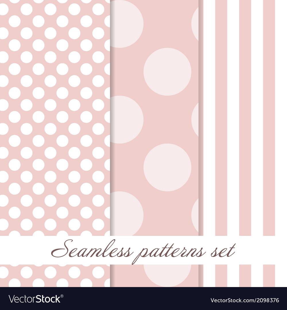 Set Seamless polka dot vintage pattern