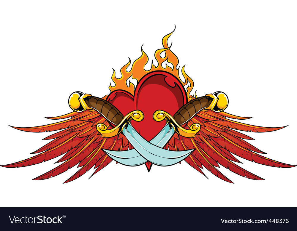 Wings dagger and flaming heart