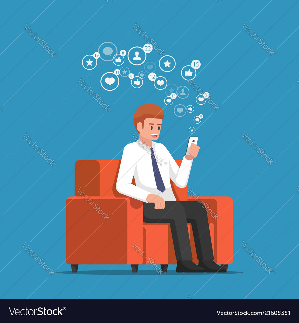 Businessman sitting at sofa and holding