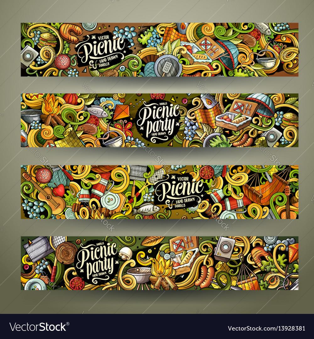 Cartoon picnic doodle vertical banners