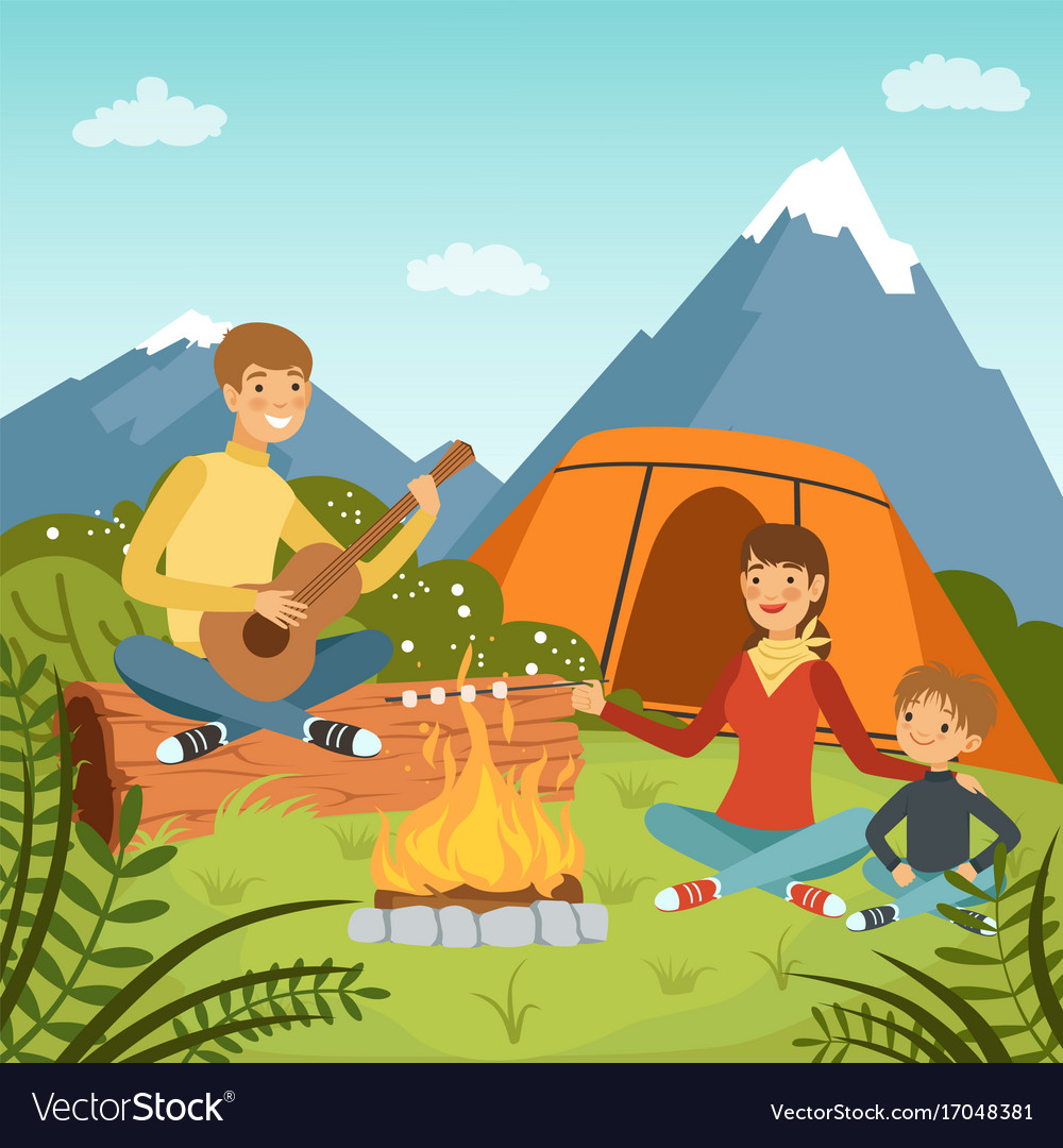 Family Camping In The Wood Near Big Mountains Vector Image