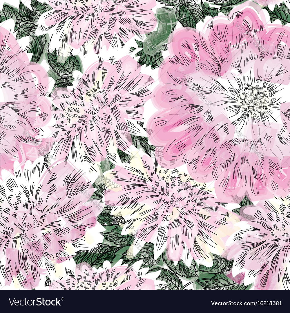 Floral seamless pattern flower chrysanthemum