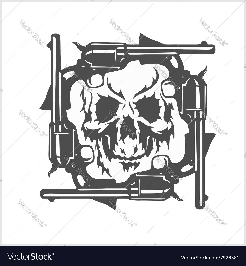 Gangster skull and frame of pistols