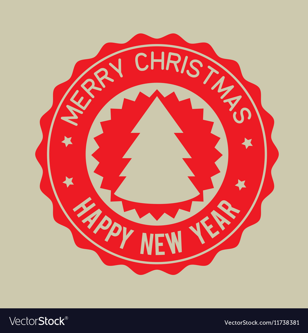 Merry christmas happy new year red badge