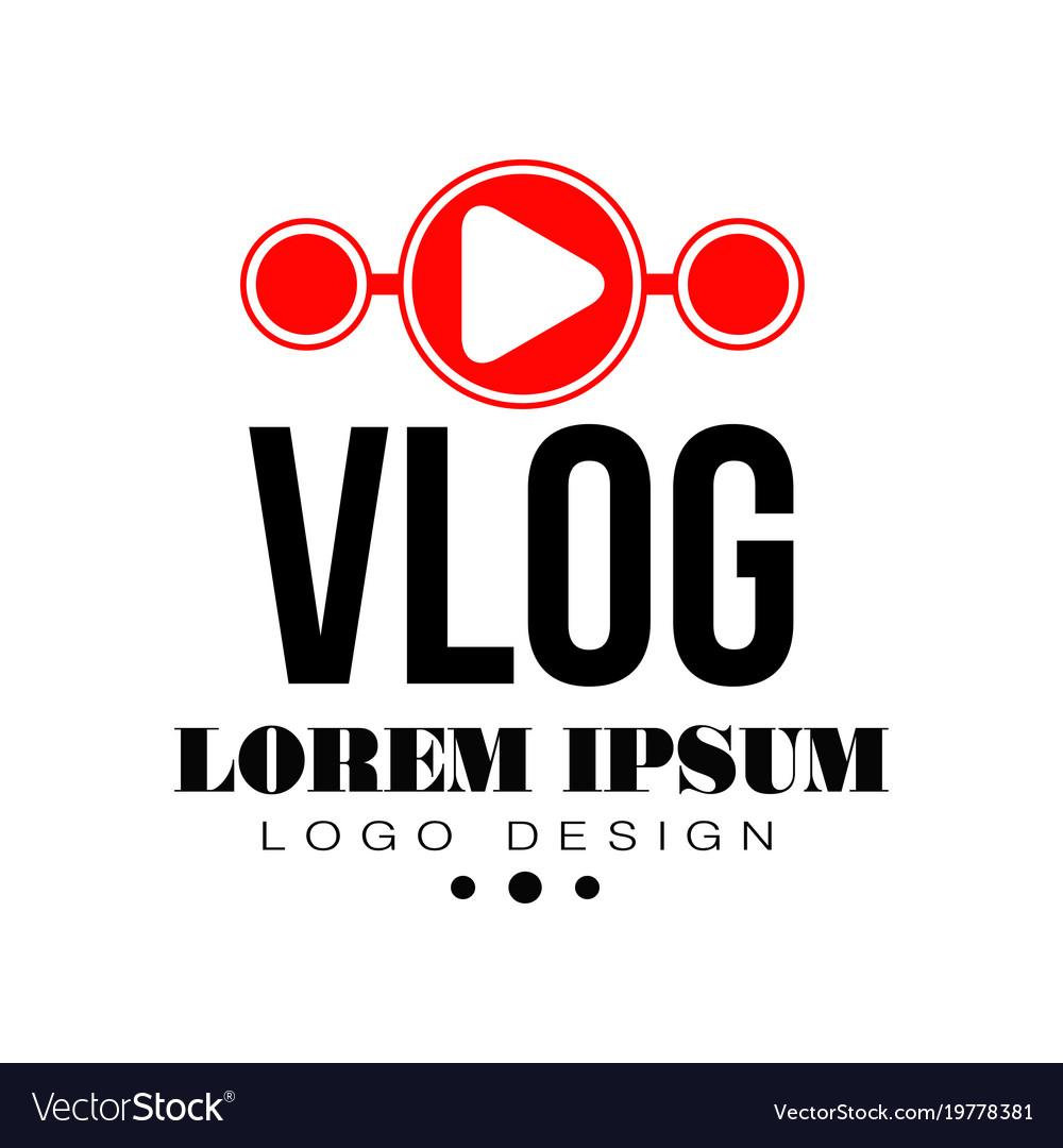 Original vlog or digital online blog badge with Vector Image