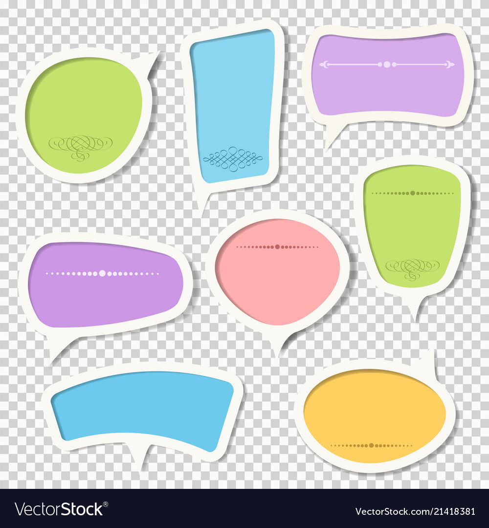Set of paper speech bubbles with calligraphic