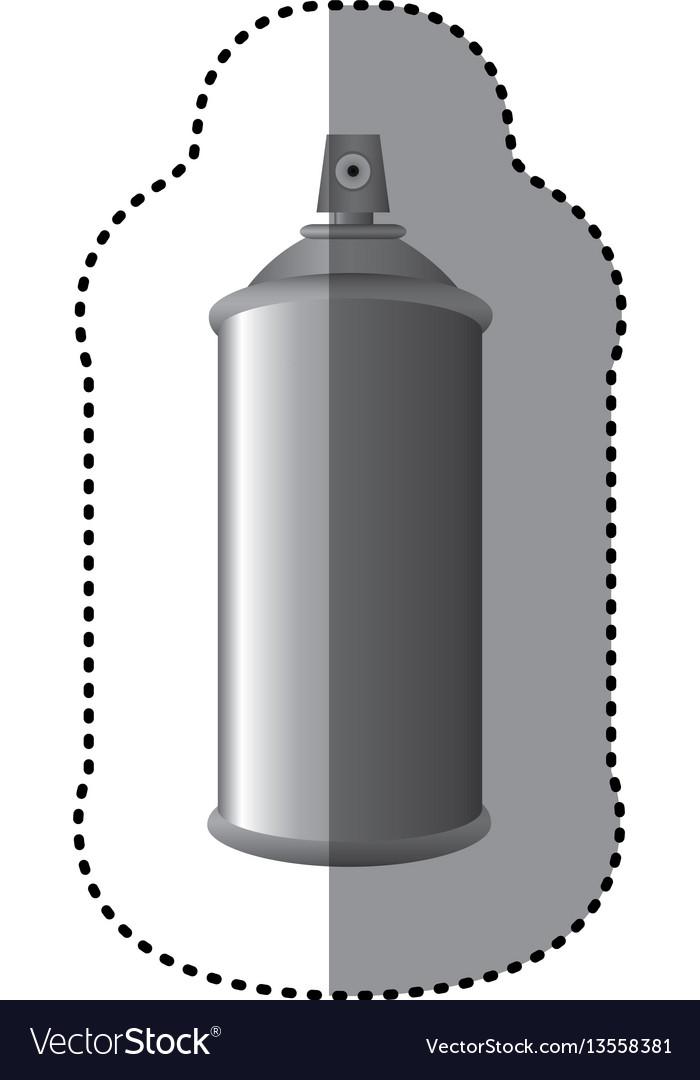 Sticker gray aerosol spray metal 3d bottle can vector image