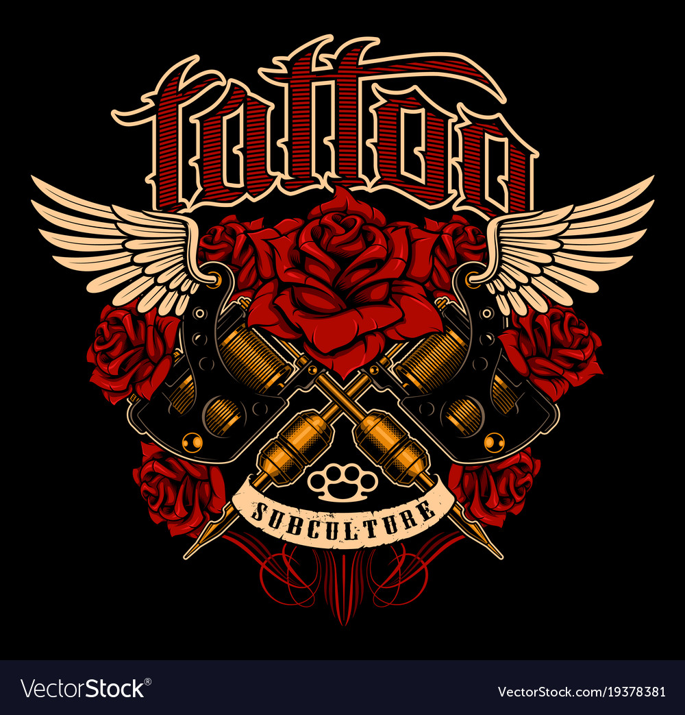 Tattoo shirt design color version vector image