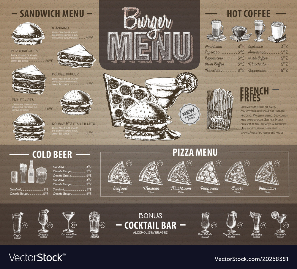 Vintage burger menu design on cardboard fast food