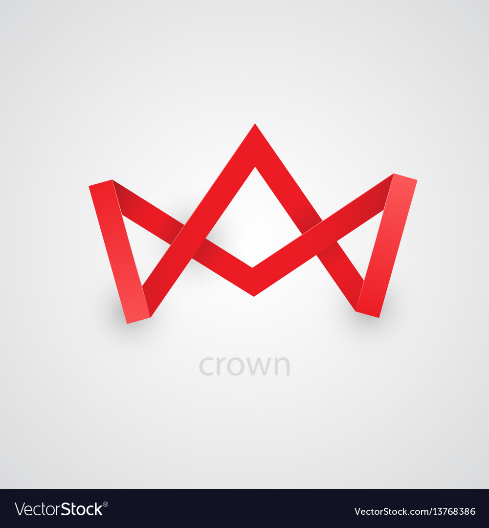 Abstract red paper crown on white background