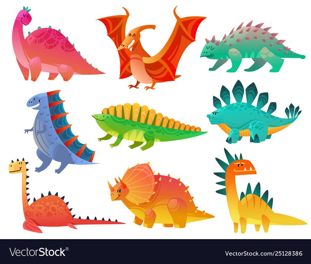 Cartoon Dinosaur Dragon Nature Dino Kids Toy Vector Image