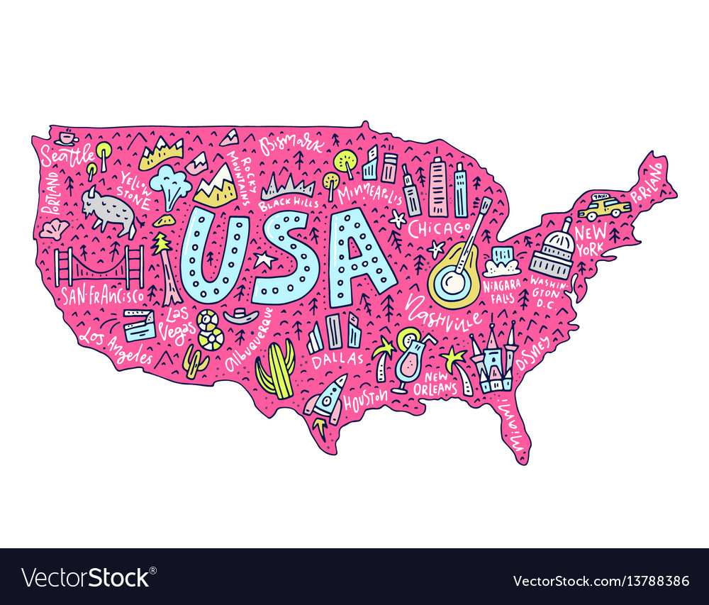 Cartoon Map Of Usa Royalty Free Vector Image Vectorstock