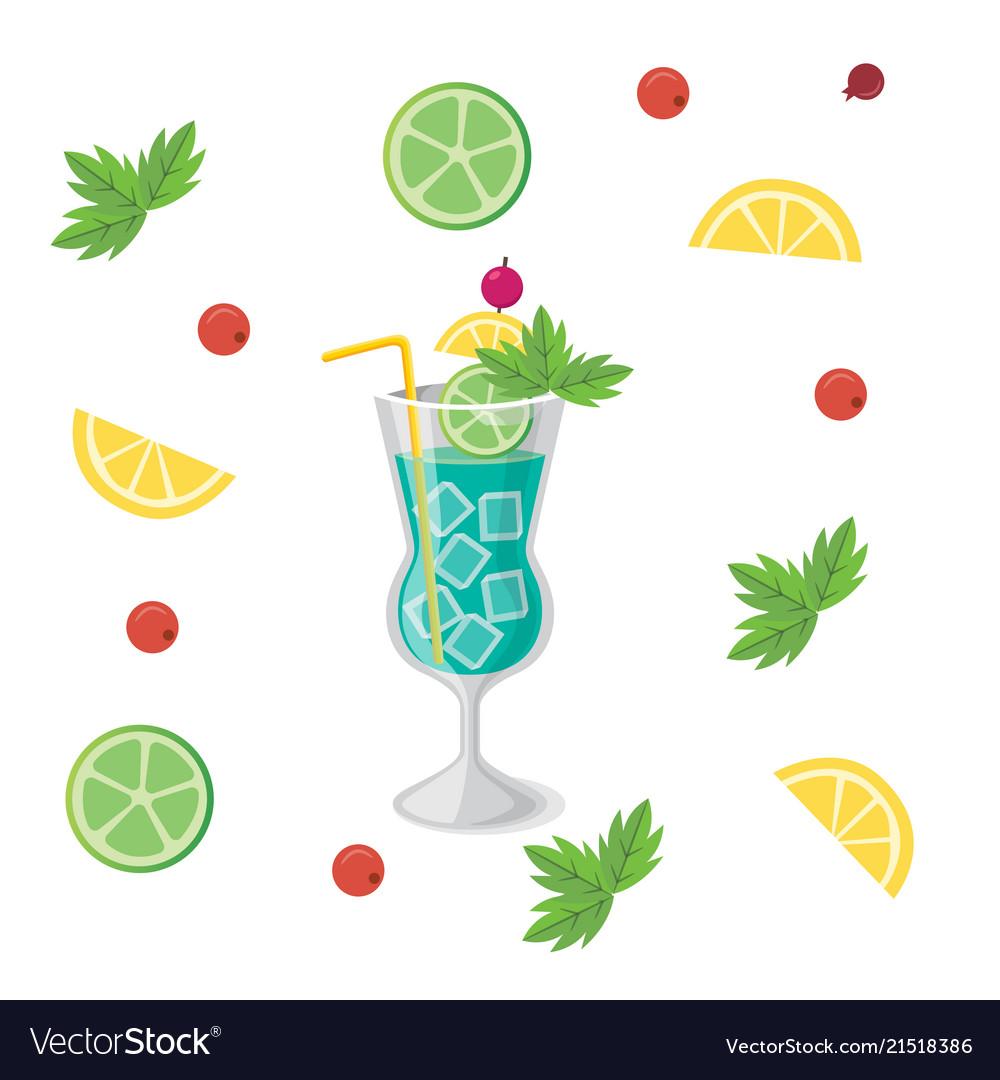 Drink blue hawaii cocktail orange lemon background