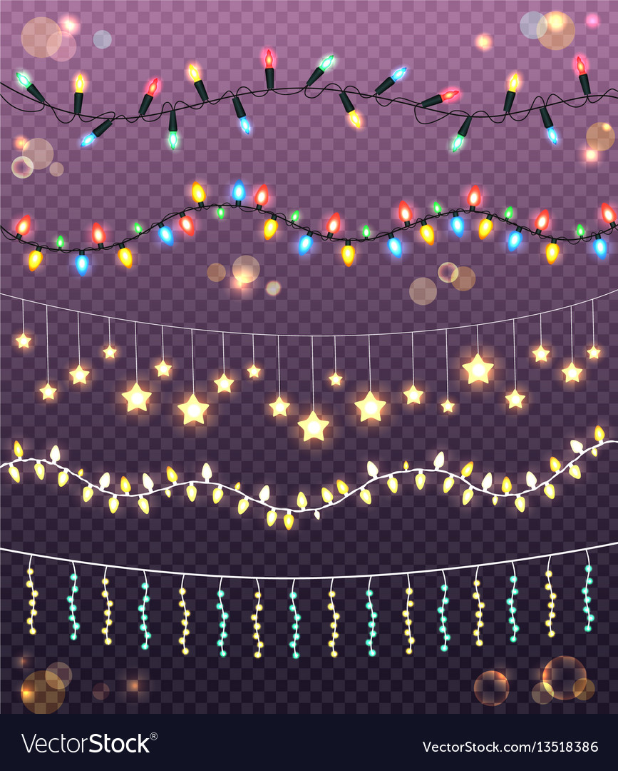 Garlands collection on transparent background vector